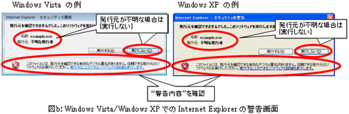 図b:Windows Vista/Windows XPでのInternet Explorerの警告画面